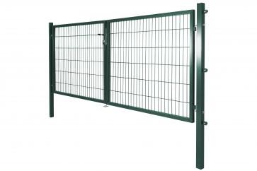 Gartentor mit Einstabmatten-Füllung, 300cm breit x 160 cm hoch, 2-flügelig, verzinkt-grün