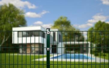 Doppelstabmattenzaun Komplettset, schwere Ausführung 8/6/8, grün, 1,63 m hoch, 120 m lang