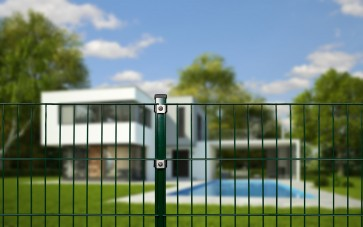 Doppelstabmattenzaun Komplettset, schwere Ausführung 8/6/8, grün, 1,03 m hoch, 25 m lang