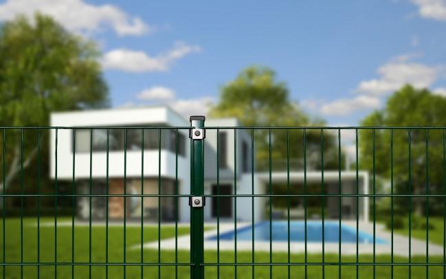 zaunshop doppelstabmattenzaun komplettset gr n 1 83 m hoch 120 m lang. Black Bedroom Furniture Sets. Home Design Ideas