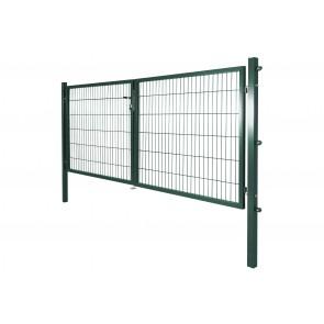 Gartentor mit Einstabmatten-Füllung, 300cm breit x 140 cm hoch, 2-flügelig, verzinkt-grün
