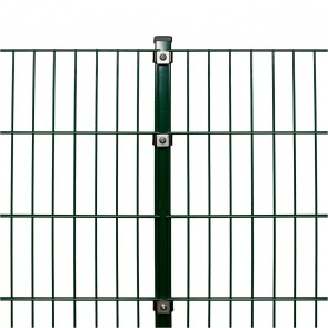 Doppelstabmattenzaun Komplettset, schwere Ausführung 8/6/8, grün, 1,43 m hoch, 70 m lang