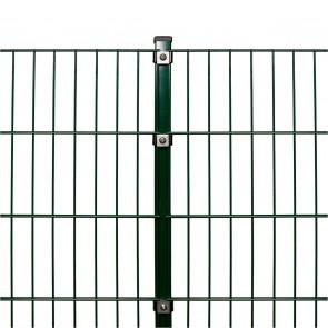 Doppelstabmattenzaun Komplettset, schwere Ausführung 8/6/8, grün, 1,43 m hoch, 12,5 m lang
