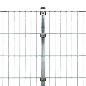 Doppelstabmattenzaun Komplettset, schwere Ausführung 8/6/8, feuerverzinkt, 1,63 m hoch, 20 m lang