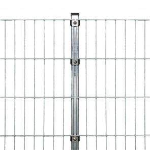 Doppelstabmattenzaun Komplettset, schwere Ausführung 8/6/8, feuerverzinkt, 1,43 m hoch, 90 m lang